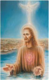 <strong>Křest Ježíše</strong>      Technika : olej na plátně. Obraz jsem namaloval roku 2018. Rozměr obrazu je 130x80cm.  Obraz je možno si objednat  jako reprodukci.  Originál vznikl na zakázku a má svého majitele