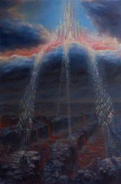 """<strong>Soud</strong>      Obraz vznikl koncem roku 2010 pro přebal knihy """"Pravda mezi nebem a zemí"""". Zachycuje temnou zdevastovanou krajinu po zemětřeseních a jiných katastrofách. Několik přeživších lidí, na které z lávou pokryté země vystupují temné útvary. Ze světlého hradu nad oblaky proudí síla, která se chystá zasáhnout ve chvíli nejvyšší nouze. Technika: olej na plátně. rozměry: 70 x 105 cm. Obraz vznikl pro obal knihy.  prodáno"""