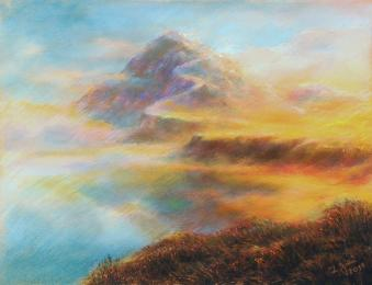 <strong>cesta ke světlu</strong>      Kresleno podle inspirace. Technika: pastel na křídovém papíru. Rozměr: 65x50 cm. prodáno.