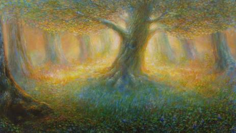 """<strong>Malý dub</strong>      obraz  jsem namaloval na přání budoucí majitelky tak, aby byl podobný energii i vzhledem obrazu """"Léčivý dub"""" Technika : olej na plátně.Obraz byl dokončen koncem prosince 2012. Rozměr obrazu je  100 x60cm. prodáno. Obraz je možno si objednat jako reprodukci"""