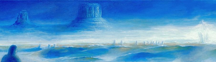 <strong>druhý břeh</strong>      Tento duchovně laděný obraz vznikl na zakázku. Jedná se o nezvyklý formát 380cm x 35cm