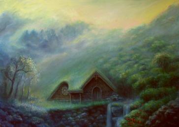 <strong>Tajné místo</strong>      Snový obraz inspirovaný kompozicí malby Krajina za mostem. Jde o imaginární výjev. Je to má osobní představa blízkého a harmonického místa. Vznikl na přelomu let 2010 a 2011.prodáno.Obraz je možno si objednat jako reprodukci. Technika: olej na plátně. Rozměry: 70 x 50 cm