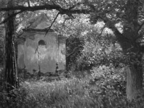 <strong>Kaple před západem slunce</strong> Moment, kdy je slunce ještě plně nad obzorem, ale opírá už se jen do některých listů stromů v lese. Ve spojení s tímto poklidným torzem, tak kaple vytváří krásnou atmosféru. Obraz vznikal v roce 2011 na přelomu května a června. Technika: olej na plátně. rozměry: 70 x 50 cm prodáno.