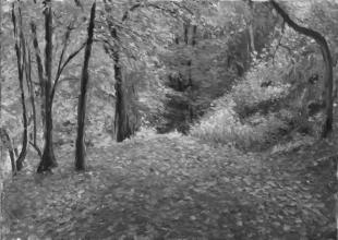 <strong>Podzim v sadech</strong> Tento obraz vznikal po několik pozdních odpolední v Pelhřimovských sadech.  Technika: olej na plátně. Rozměry: 70 x 50 cm. Obraz je prodán