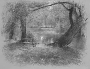 """<strong>poklidné ráno ve Stromovce</strong> Obraz jsem kreslil krátce po východu slunce v několika letných ránech. technika: pastel na specialním papíře. rozměr: 65 x 50 cm Obraz vznikal v roce 2013 Obraz je na prodej (pro cenu mě <a href=""""/kontakt"""">kontaktujte</a>)."""